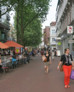A typical fussgaenger zone: stores and cafes.  (Altona, an area of Hamburg)